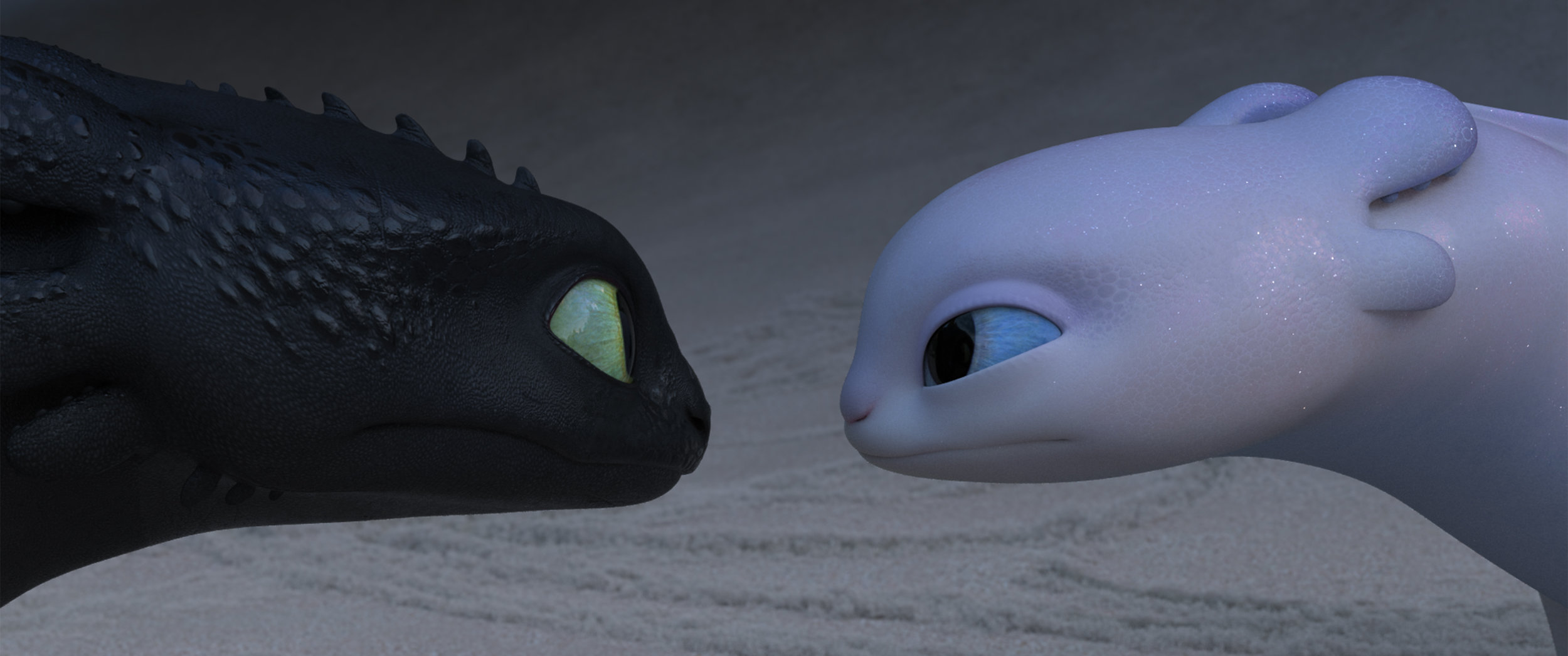 """The """"night fury"""" dragon Toothless, left, meets a female dragon, a """"light fury,"""" in the animated """"How to Train Your Dragon: The Hidden World."""" (Photo courtesy DreamWorks / Universal Pictures)"""