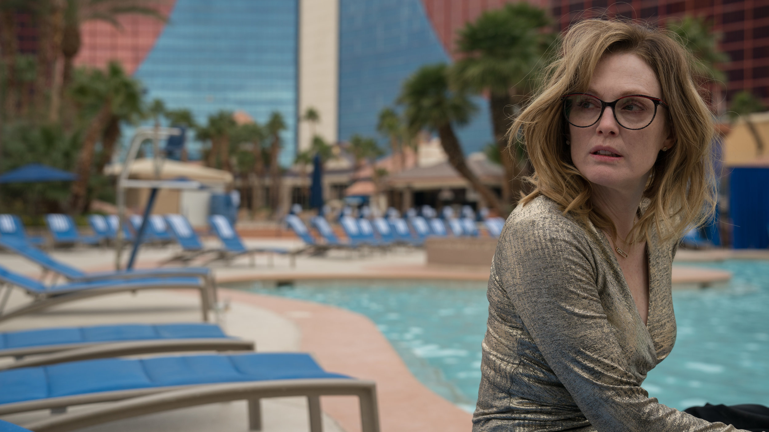 "Gloria (Julianne Moore) wakes up after a wild night in Vegas, in a scene from the drama ""Gloria Bell."" (Photo by: Hilary Bronwyn Gayle, courtesy  A24.)"
