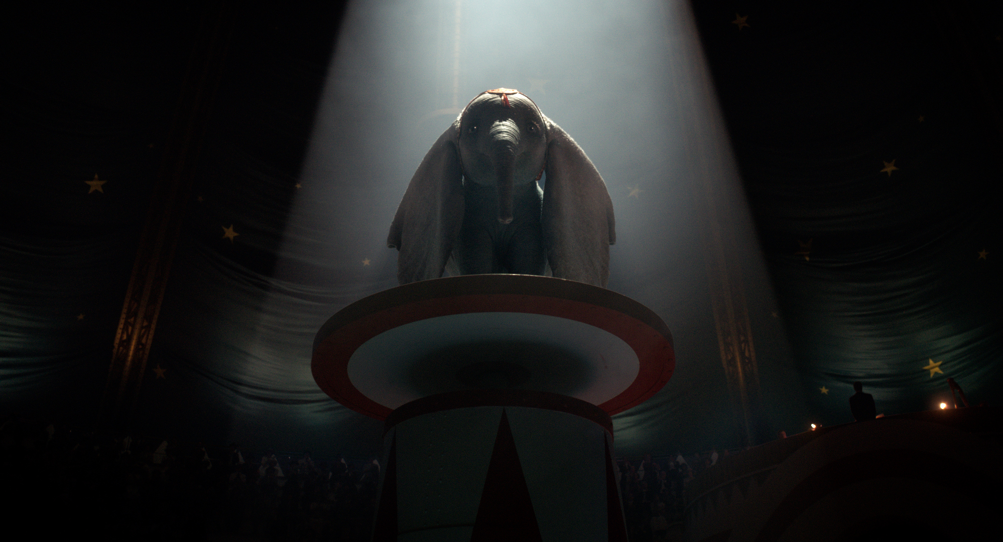 """Dumbo, the flying elephant, prepares for his big moment in the Dreamland circus, in a scene from Disney's  """"Dumbo,"""" a live-action remake of the 1941 animated classic. (Photo courtesy Walt Disney Pictures)"""