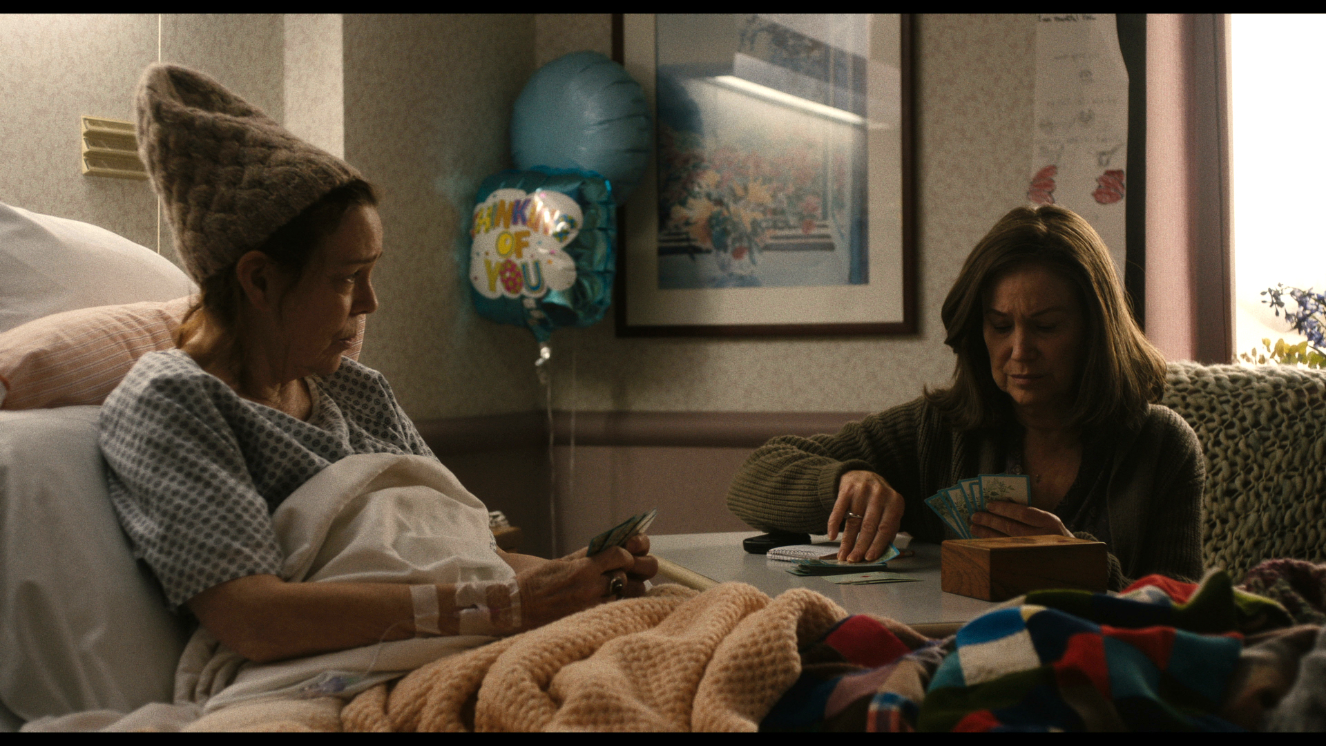"Diane (Mary Kay Place, right) plays gin with her cousin, Donna (Deirdre O'Connell), who's in the hospital being treated for cervical cancer, in a scene from writer-director Kent Jones' drama ""Diane."" (Photo courtesy IFC Films)"