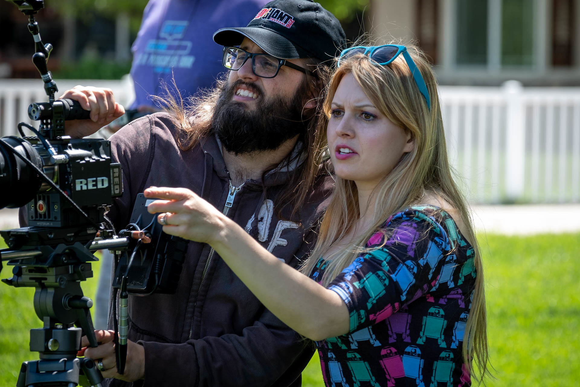 "Savannah Ostler, right, directs a scene from her movie ""Twice the Dream,"" alongside her cinematographer (and husband) Stephen D'Alo. Ostler also wrote and stars in the Utah-made movie. (Photo by Danno Nell, courtesy of S&S Productions.)"
