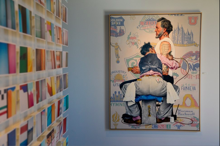 "A work by Shalee Cooper and Tyler Bloomquist, at left, compliments Ben Steele's ""Mormon Rockwell,"" a parody of a Norman Rockwell illustration featuring early Church of Jesus Christ of Latter-day Saints leader Brigham Young. The works are part of an exhibition, ""The New West,"" that is the opener for Modern West Fine Art's new location at 412 S. 700 West in Salt Lake City. (Photo by Francisco Kjolseth, courtesy of The Salt Lake Tribune.)"