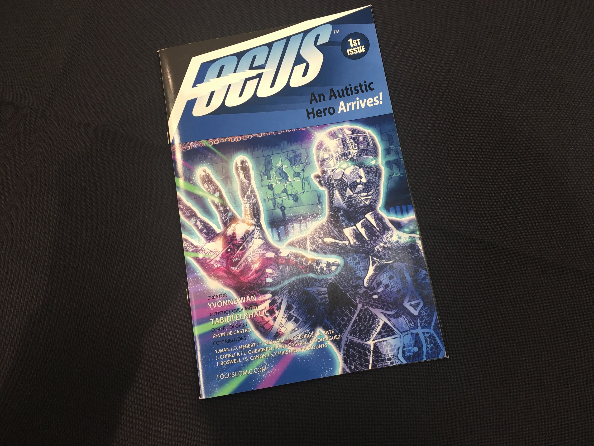 "One of the variant covers for ""Focus,"" a new comic book whose superhero central figure has autism. The title is being sold at FanX Salt Lake Comic Convention, April 19-20, at the Salt Palace Convention Center in Salt Lake City. (Photo by Sean P. Means.)"
