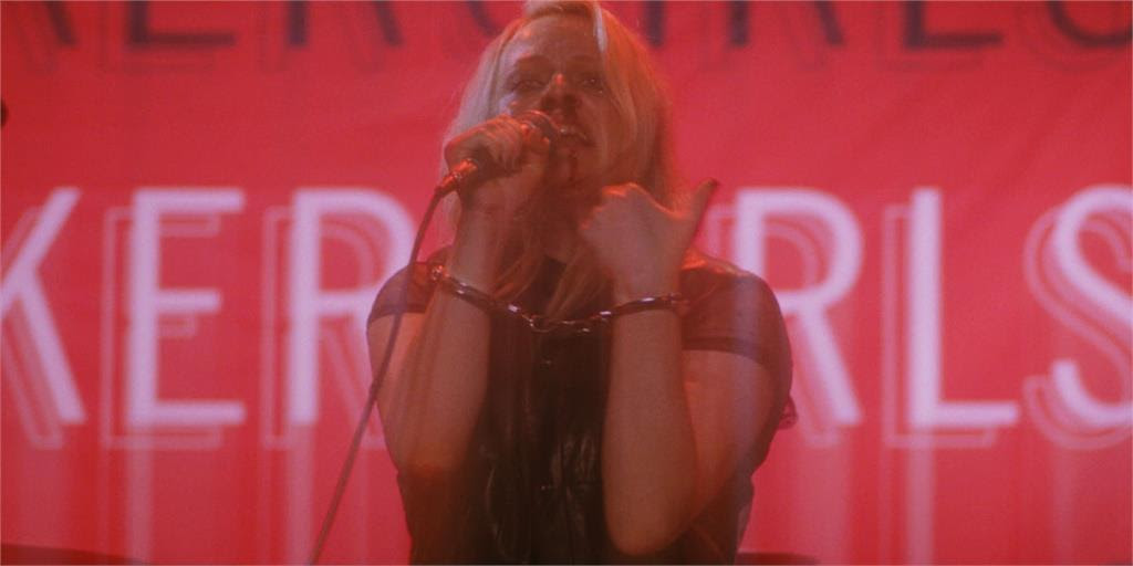 """Punk rocker Becky Something (Elisabeth Moss) has an onstage meltdown, in a scene from the rock 'n' roll drama """"Her Smell."""" (Photo courtesy Gunpowder & Sky.)"""