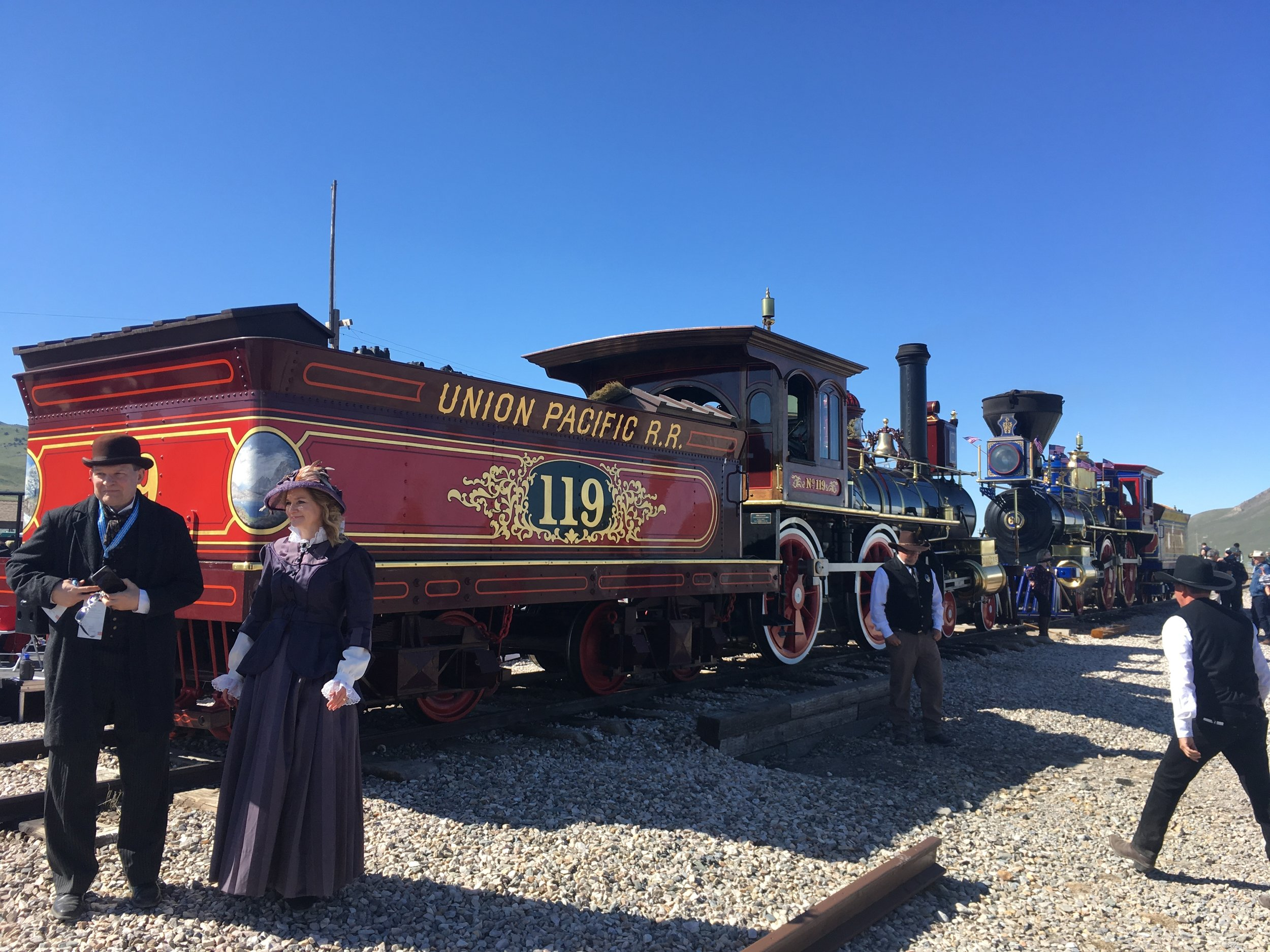 Replicas of the No. 119 (left) and the Jupiter meet during the 150th anniversary festivities for the Golden Spike, at Promontory, Utah, on Friday, May 10, 2019. (Photo by Sean P. Means, courtesy The Salt Lake Tribune.)