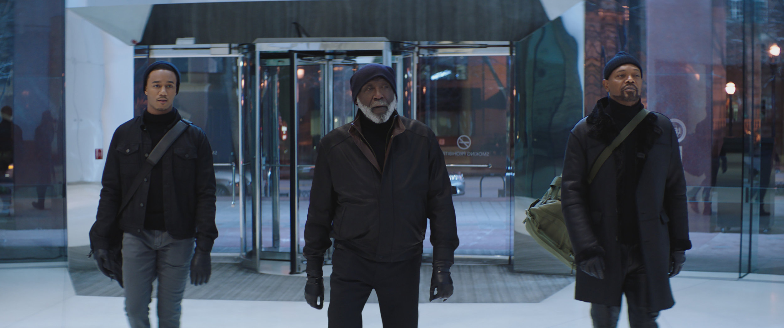 "Three generations of Shaft men — from left: J.J. (Jessie T. Usher), John I (Richard Roundtree) and John II (Samuel L. Jackson) — get ready for action in ""Shaft."" (Photo courtesy of Warner Bros. / New Line Cinema.)"