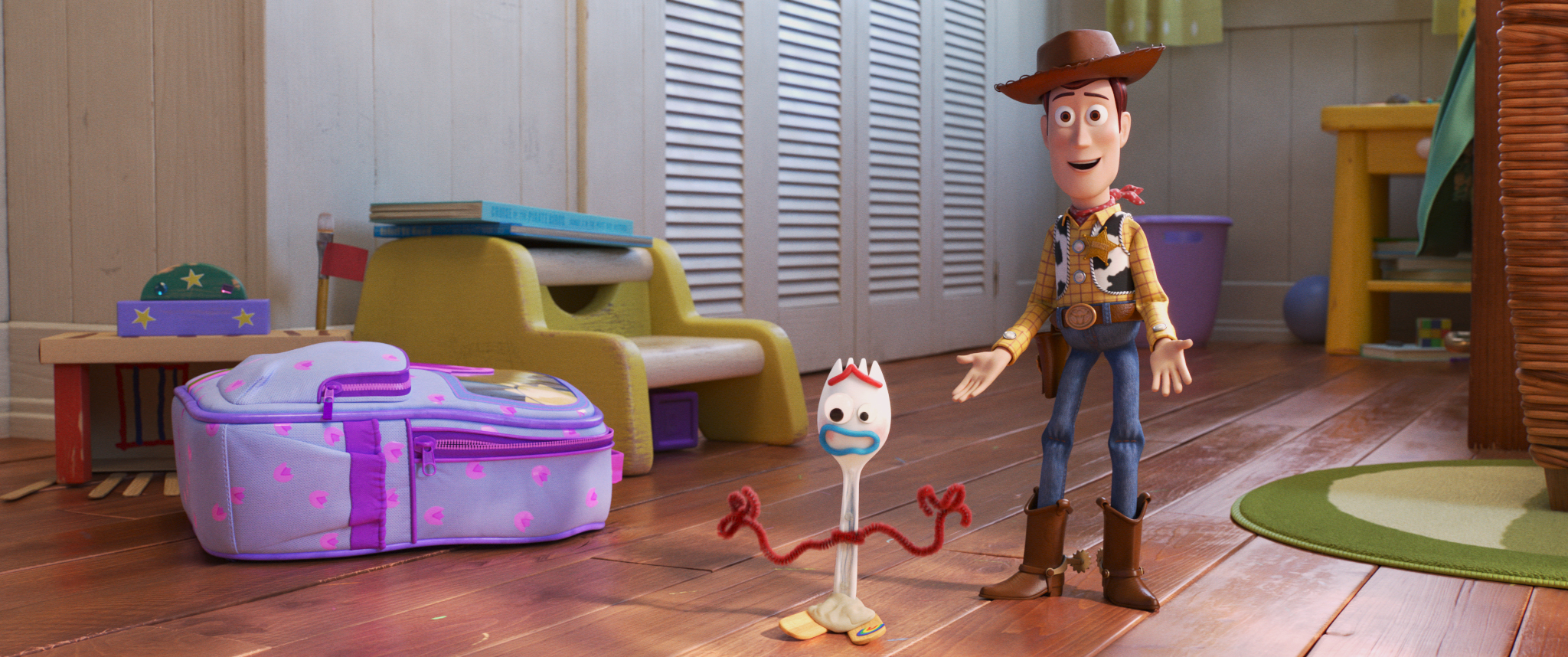 "Sheriff Woody (right, voiced by Tom Hanks) introduces his toy friends to Bonnie's new creation, Forky (left, voiced by Tony Hale), in Disney/Pixar's ""Toy Story 4."" (Image courtesy of Disney/Pixar."