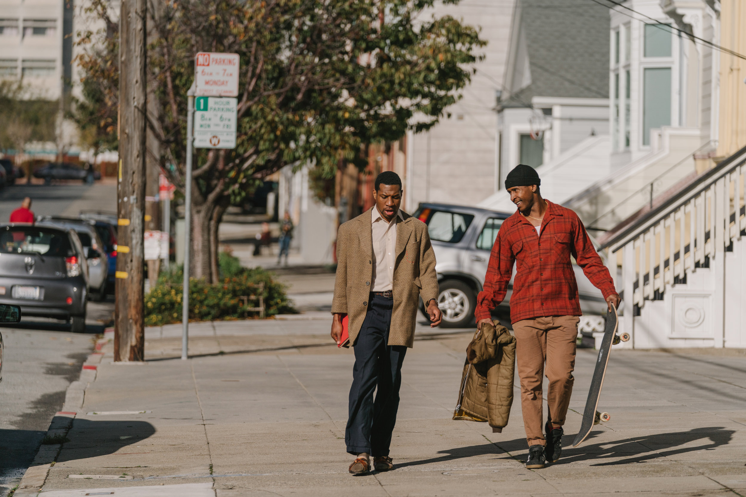 "Jimmie Fails, right, and Jonathan Majors appear in ""The Last Black Man In San Francisco,"" directed by Joe Talbot. (Photo by Peter Prato, courtesy of A24 Films."