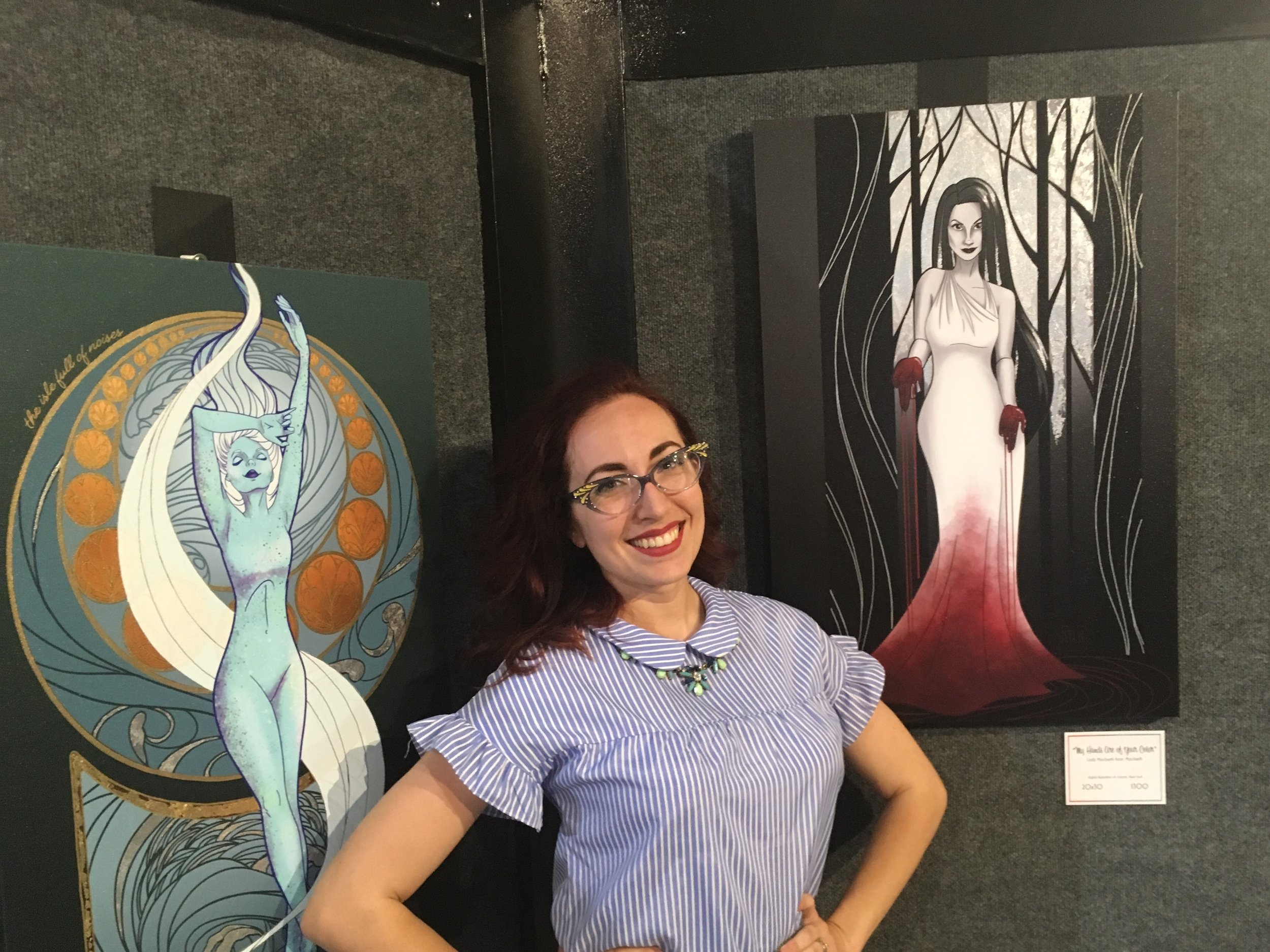 Cedar City artist Kaitlin Mills stands amid her renditions of Shakespearean women (Ariel on the left, Lady Macbeth on the right) at her solo exhibition at the Frontier Homestead State Park museum. Mills is also an actor, teaches stage makeup, does freelance graphic design and is studying art administration — symbolic of the do-it-yourself attitude in Cedar City's artistic community. (Photo by Sean P. Means.)