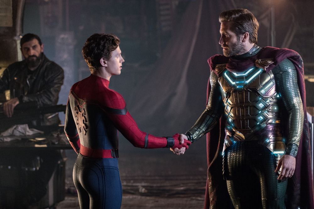 "Peter Parker, aka Spider-Man (Tom Holland, left) meets the heroic Mysterio (Jake Gyllenhaal), in ""Spider-Man: Far From Home."" (Photo by Jay Maidment, courtesy Columbia Pictures / Marvel Studios.)"