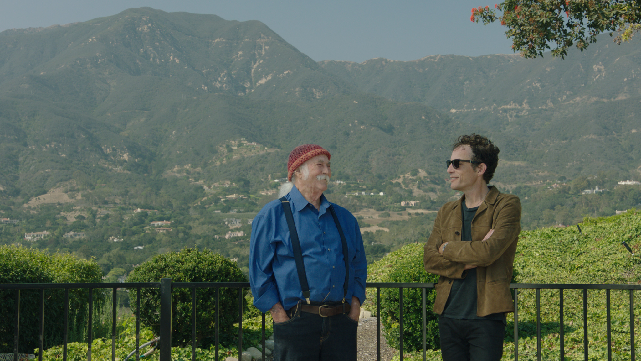 """David Crosby (left) talks to Jakob Dylan about his days with The Byrds, and the Laurel Canyon era of music, in the documentary """"Echo in the Canyon."""" (Photo courtesy Greenwich Entertainment.)"""