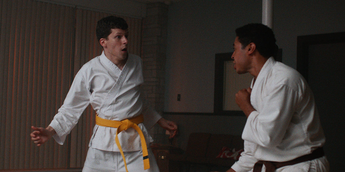 "Casey (Jesse Eisenberg, left) gets a frightening karate lesson from Thomas (Steve Terada), a black belt, in writer-director Riley Stearns' dark comedy ""The Art of Self-Defense."" (Photo courtesy of Bleecker Street Media.)"