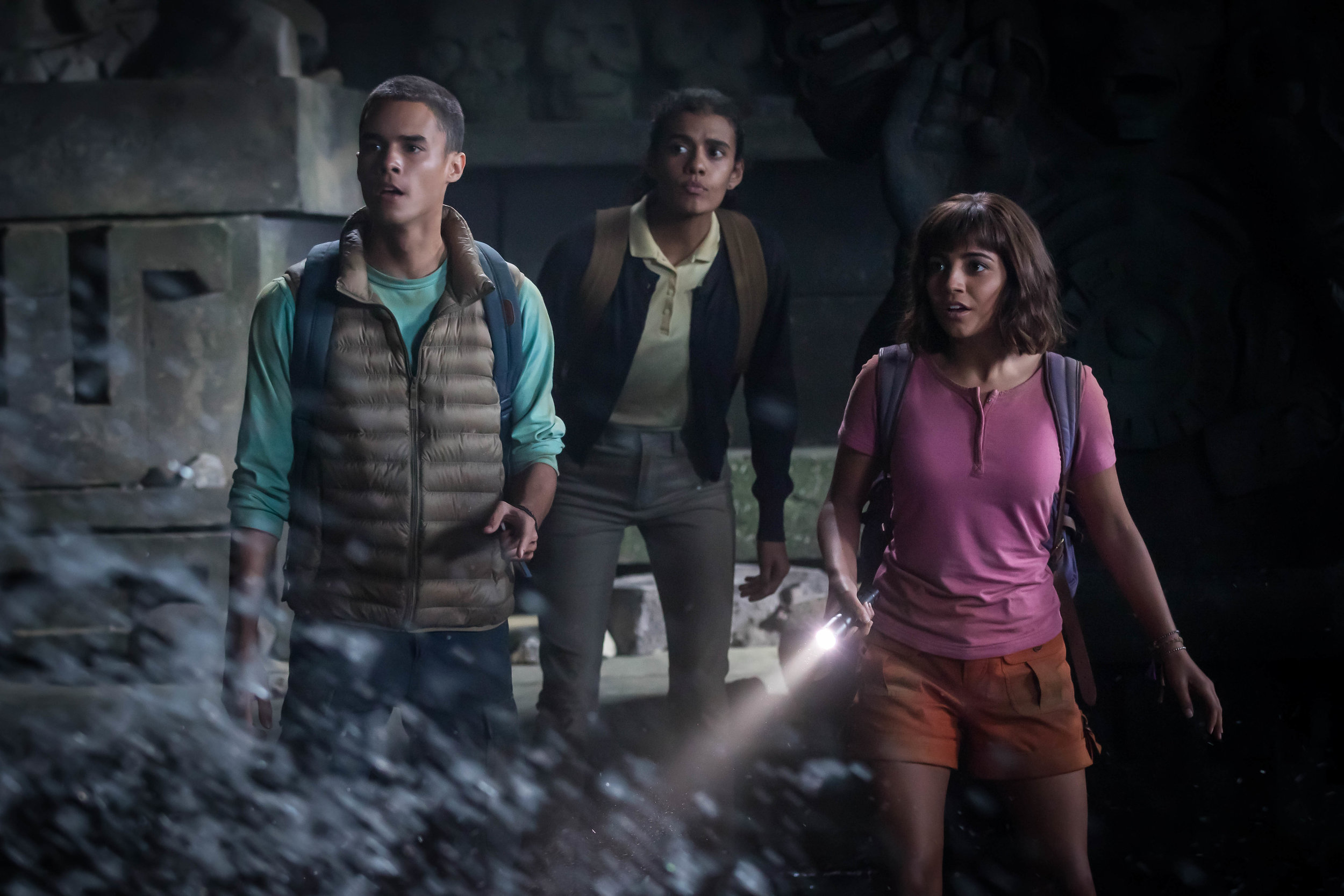 """Dora (Isabela Moner, right), along with her cousin Diego (Jeff Wahlberg, left) and their classmate Sammy (Madeleine Madden, center), are swept up in an adventure in """"Dora and the Lost City of Gold,"""" based on the Nickelodeon children's show """"Dora the Explorer."""" (Photo by Vince Valitutti, courtesy of Paramount Pictures.)"""