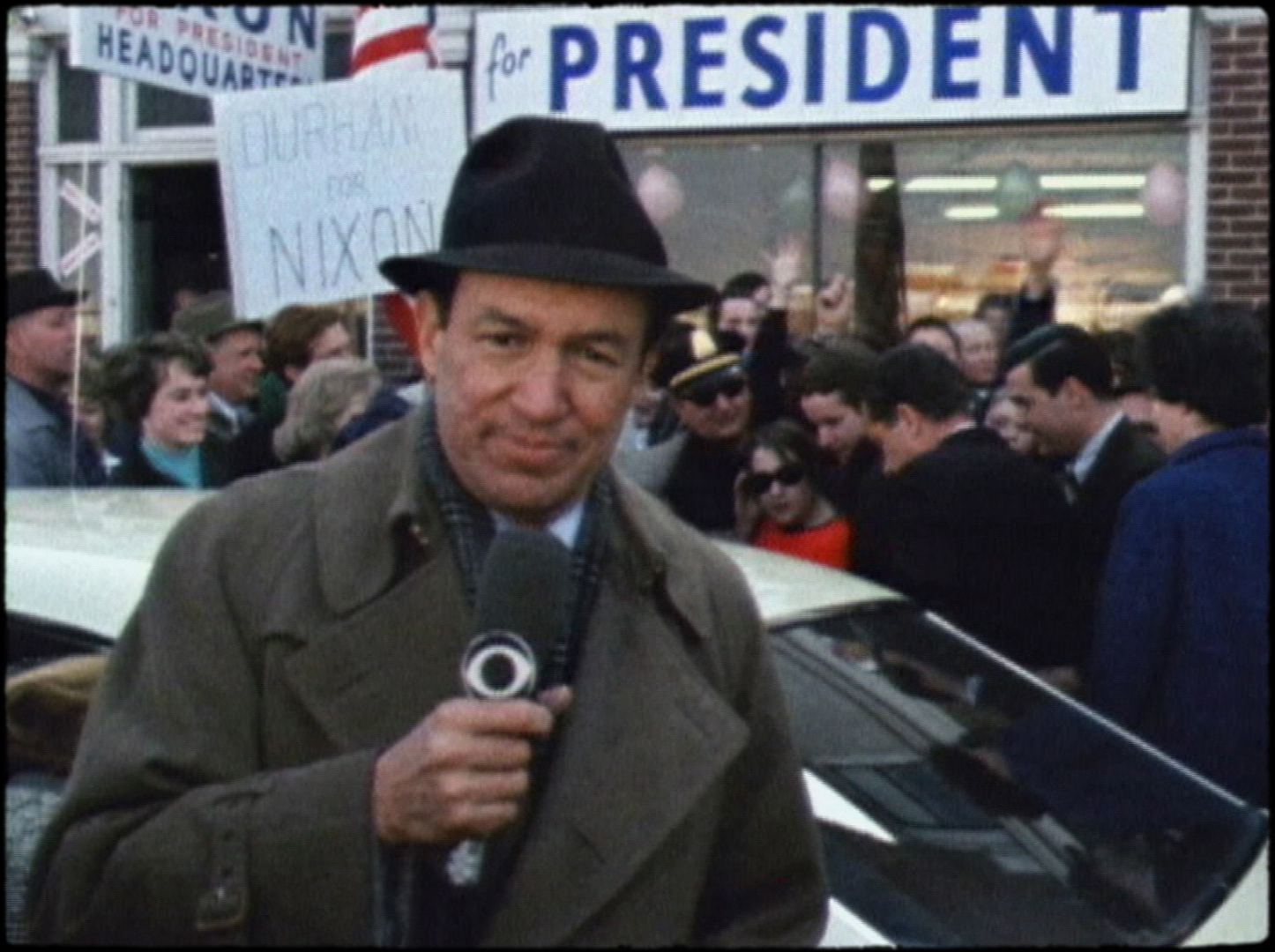 """Newsman Mike Wallace, on the campaign trail, in a scene from the documentary """"Mike Wallace Is Here."""" (Photo courtesy of Magnolia Pictures.)"""