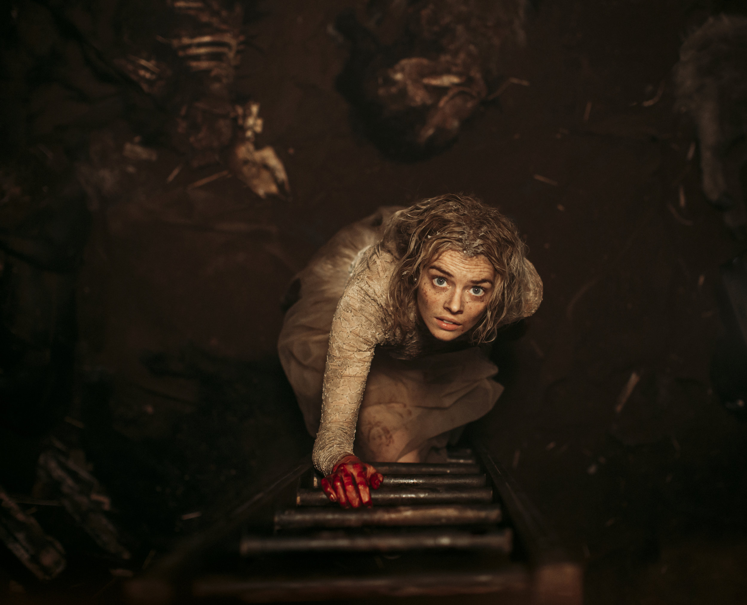 """Grace (Samara Weaving) has to hide from her murderous in-laws in the horror thriller """"Ready or Not."""" (Photo by  Eric Zachanowich, courtesy of Fox Searchlight Films.)"""