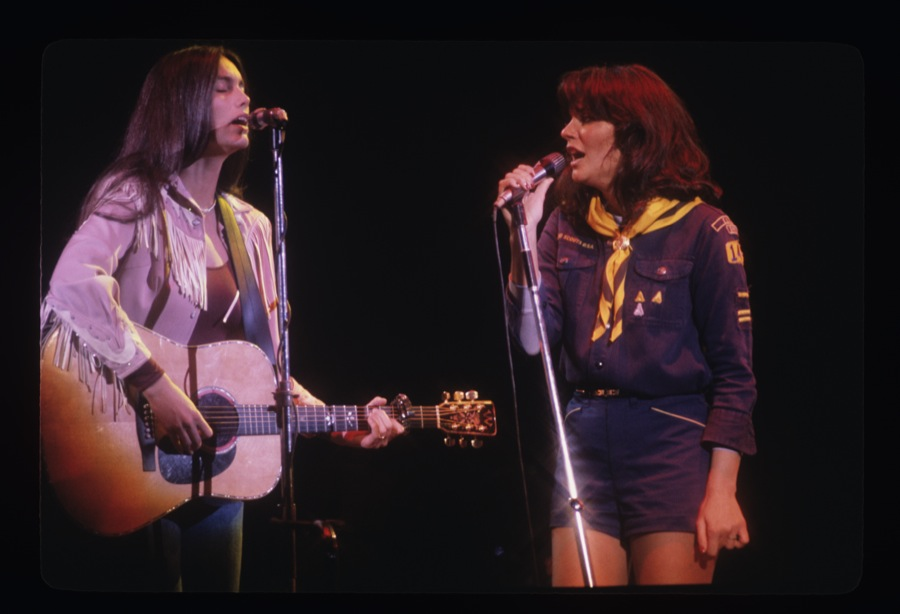 """Linda Ronstadt, right, performs with her longtime friend Emmylou Harris in the 1970s, in a moment from the documentary """"Linda Ronstadt: The Sound of My Voice."""" (Photo courtesy of Greenwich Entertainment / CNN Films.)"""