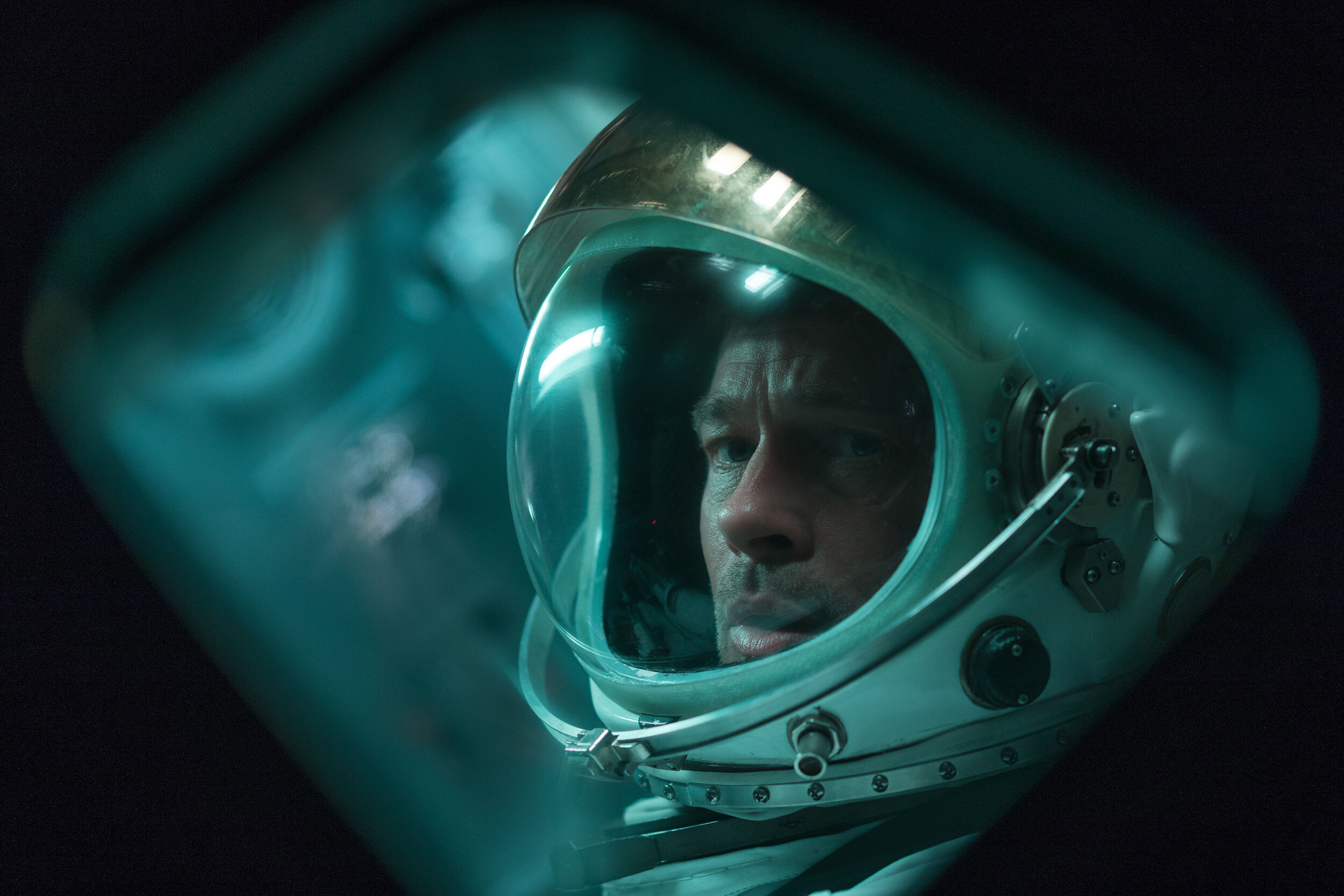 """Brad Pitt plays Maj. Roy McBride, an astronaut sent to locate his missing father (Tommy Lee Jones), in the science-fiction drama """"Ad Astra."""" (Photo by Francois Duhamel, courtesy of 20th Century Fox.)"""