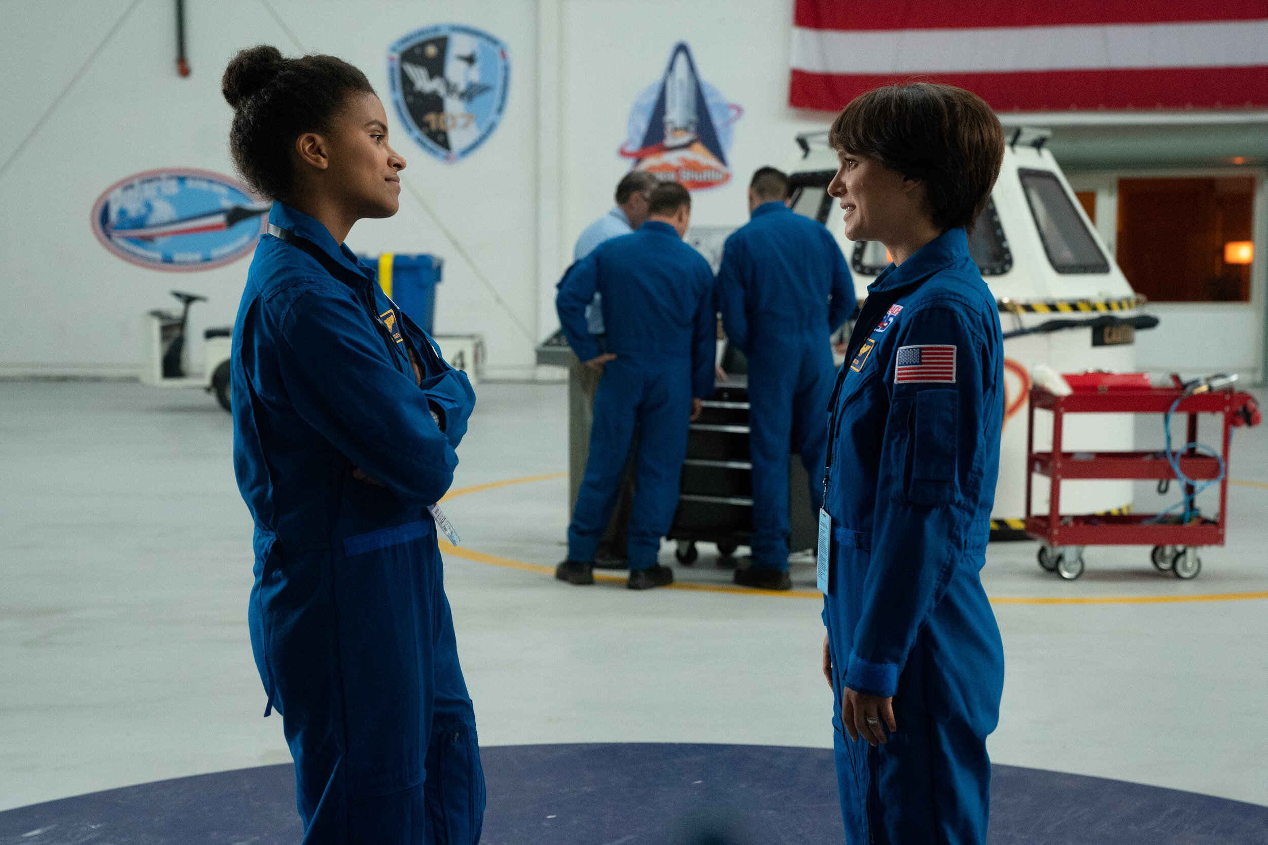 """Astronaut Lucy Cola (Natalie Portman, right) befriends younger astronaut Erin Eccles (Zazie Beetz), even though both are competing for the same spot on a space mission, in the drama """"Lucy in the Sky."""" (Photo by Hilary B. Gayle, courtesy of 20th Century Fox.)"""