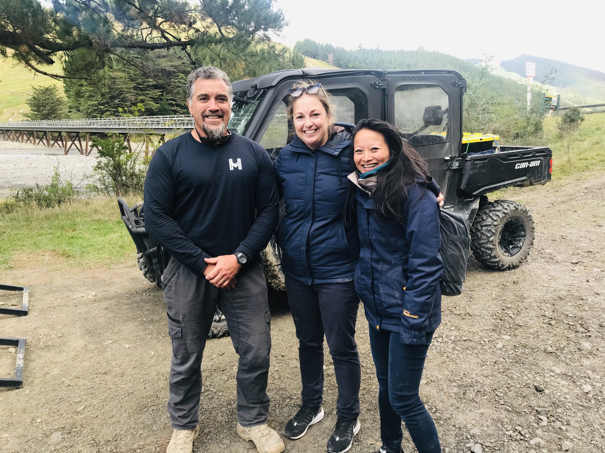 Monty at the end of a Sunrise Tour with two happy manuhiri (guests) - those smiles say it all