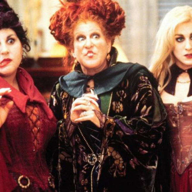 Winnie Sanderson (played by Bette Midler) in Hocus Pocus. Pure comedy creepiness.