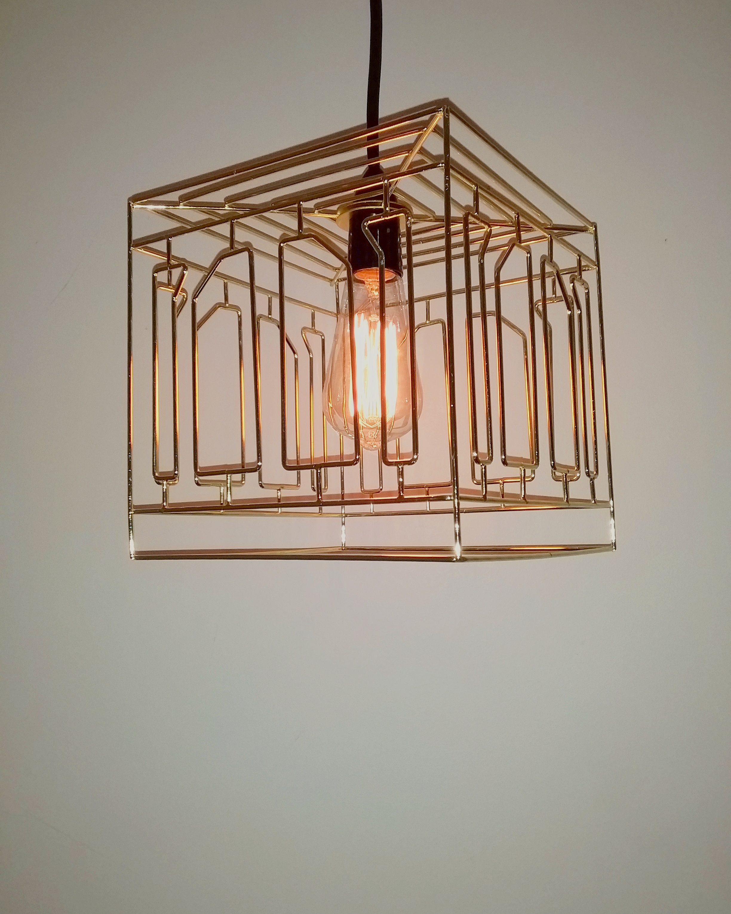 sQUARE CAGE PENDANTS - Gold in colourMeasures: H 220mm x W 220mm x D 220mmIndividual Shade with Edison Drop & Plug $35 includes bulbOption 10m Festoon cable, Drops with Shades $245.00 includes bulbs.