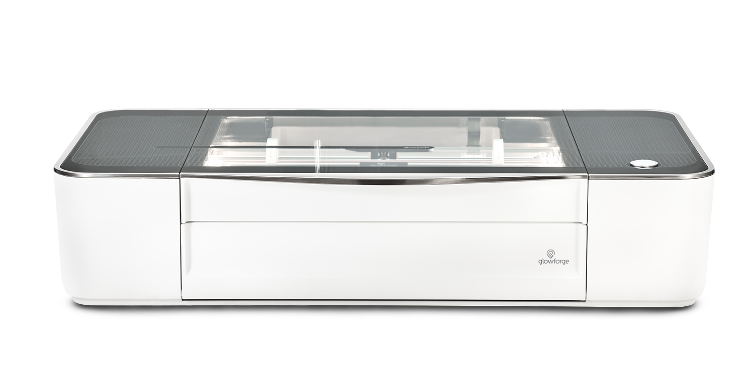 Plus - $3,995 - More power and speed than the Basic, the Glowforge Plus offers upgraded components and increased laser power to print up to 20% faster and has double the warranty. If you want more just a little more than the Basic but don't need the Pro Passthrough slot for larger objects, this is the model to get.Class 1 laser product.
