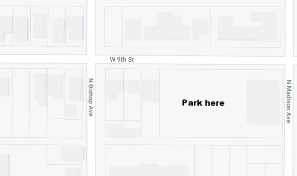 OTHER PARKING - In addition to the scooter drop point, Exxir Capital has also made available its larger parking lot at the corner of Bishop Ave. & 9th St., which is in walking distance to the back of the event.