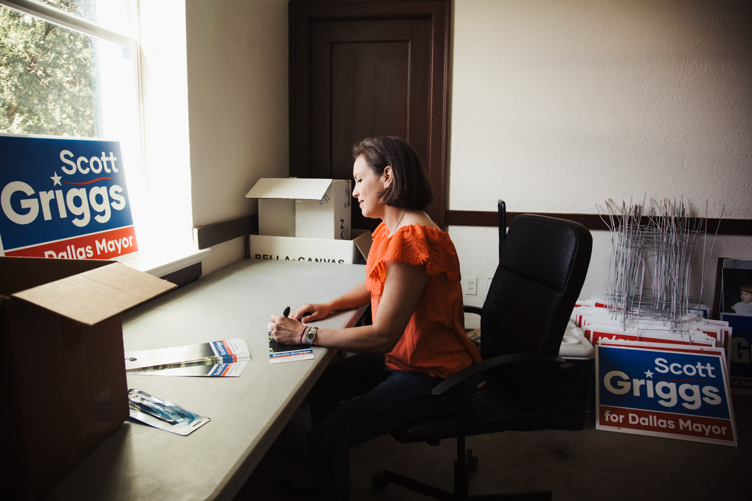 Pictured above: Mariana working at one of the desks in the campaign office.