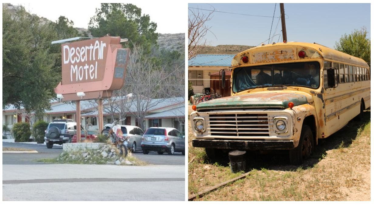 Scott Degraff's Motorcycle on the Desert Air Sign, and School Bus RV
