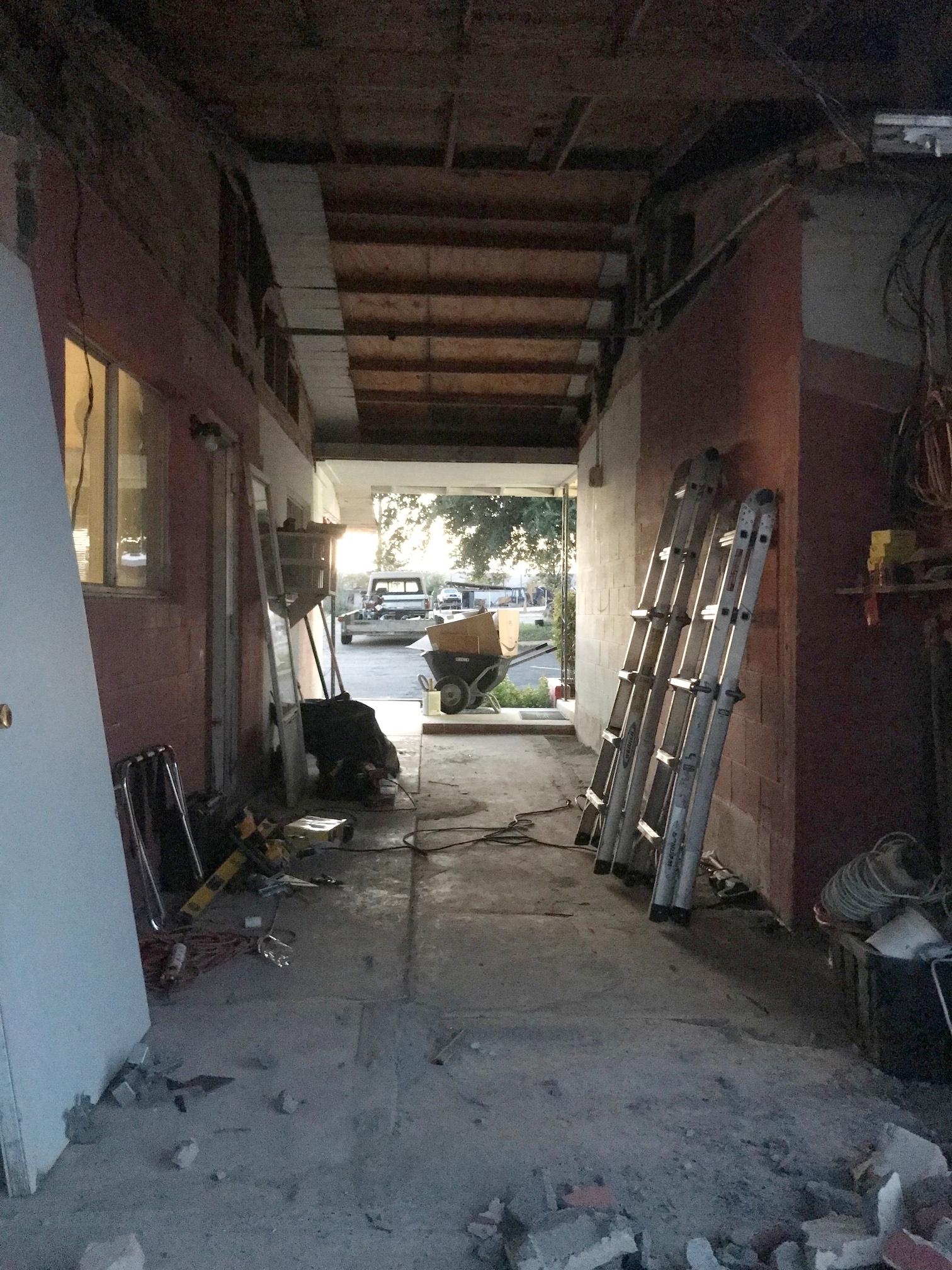Demolished storage room