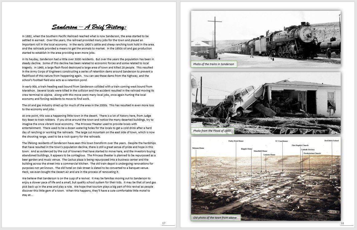Desert Air Motel Book - Sanderson a Brief History