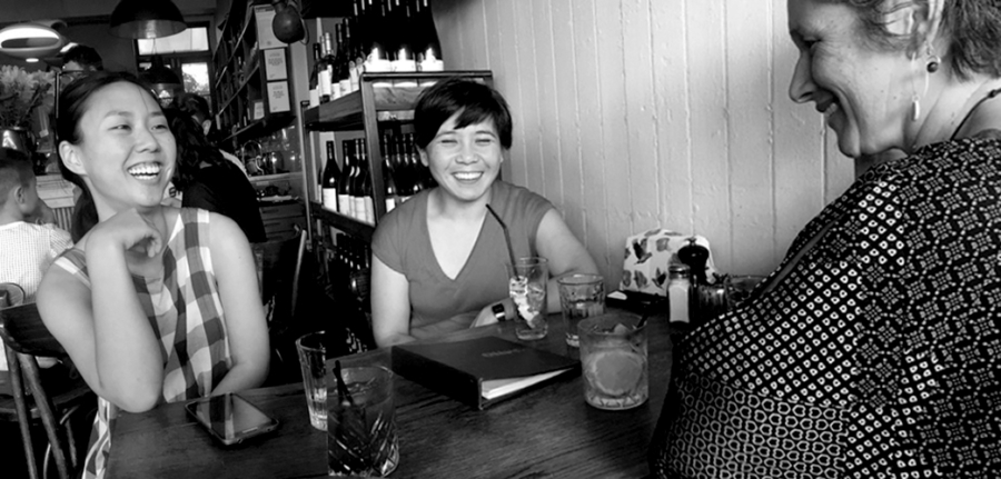 Asian Aotearoa Arts Hui organisers Amy Weng, Kerry Ann Lee and Kim Lowe. Photo by Kirsten Ng