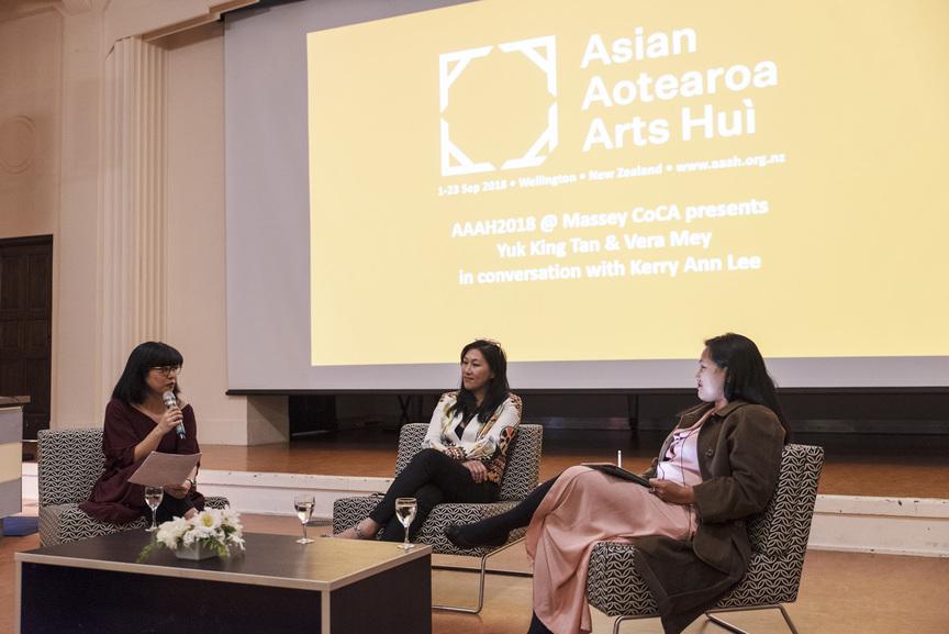 Kerry Ann Lee, Yuk King Tan and Vera Mey in conversation at the 2018 Asian Aotearoa Arts Hui,Massey University Wellington, Wellington, 2018.Photo by John Lake