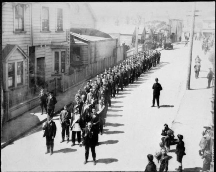 Chee Kung Tung Chinese Free Masons procession, Fredrick Street, Wellington. Chung, Doris: Photograph of Chinese Free Masons in Fredrick Street, Wellington, 1924