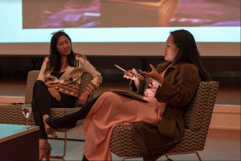 Yuk King Tan & Vera Mey in conversation with Kerry Ann Lee, Massey University, Wellington, 20 September 2018. Photo by John Lake
