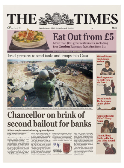 """"""" Chancellor on brink of second bailout of banks"""" - The Times 3 January, 2009"""