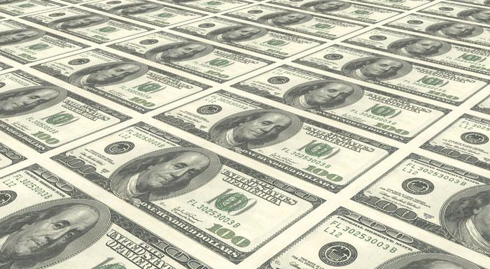 100 dollar notes printed on sheet