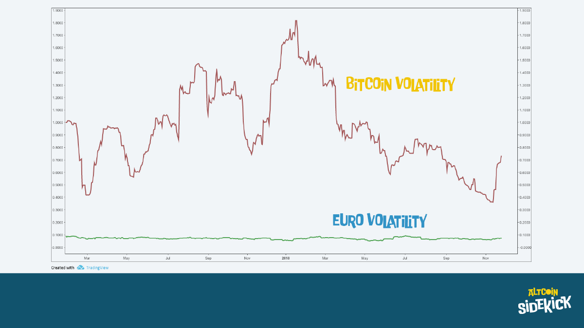 Volatility in the Euro/USD exchange rate and Bitcoin