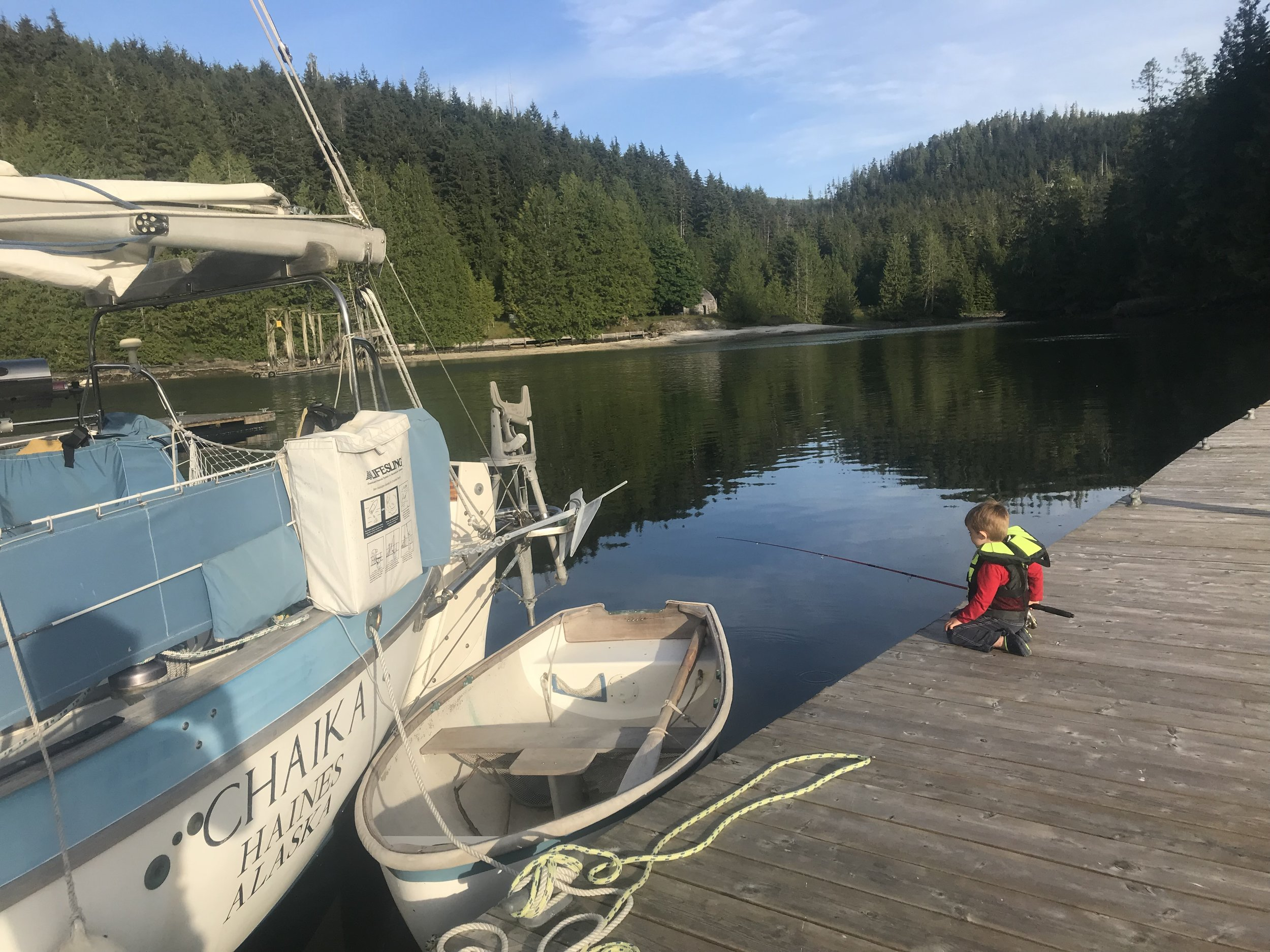 Fishing off the docks at Echo Bay.
