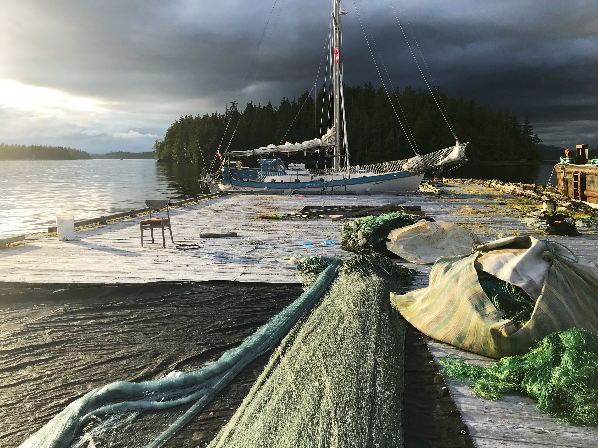Tied to the breakwater at Shearwater near Bella Bella. Dock space was full prior to the fishing opening.