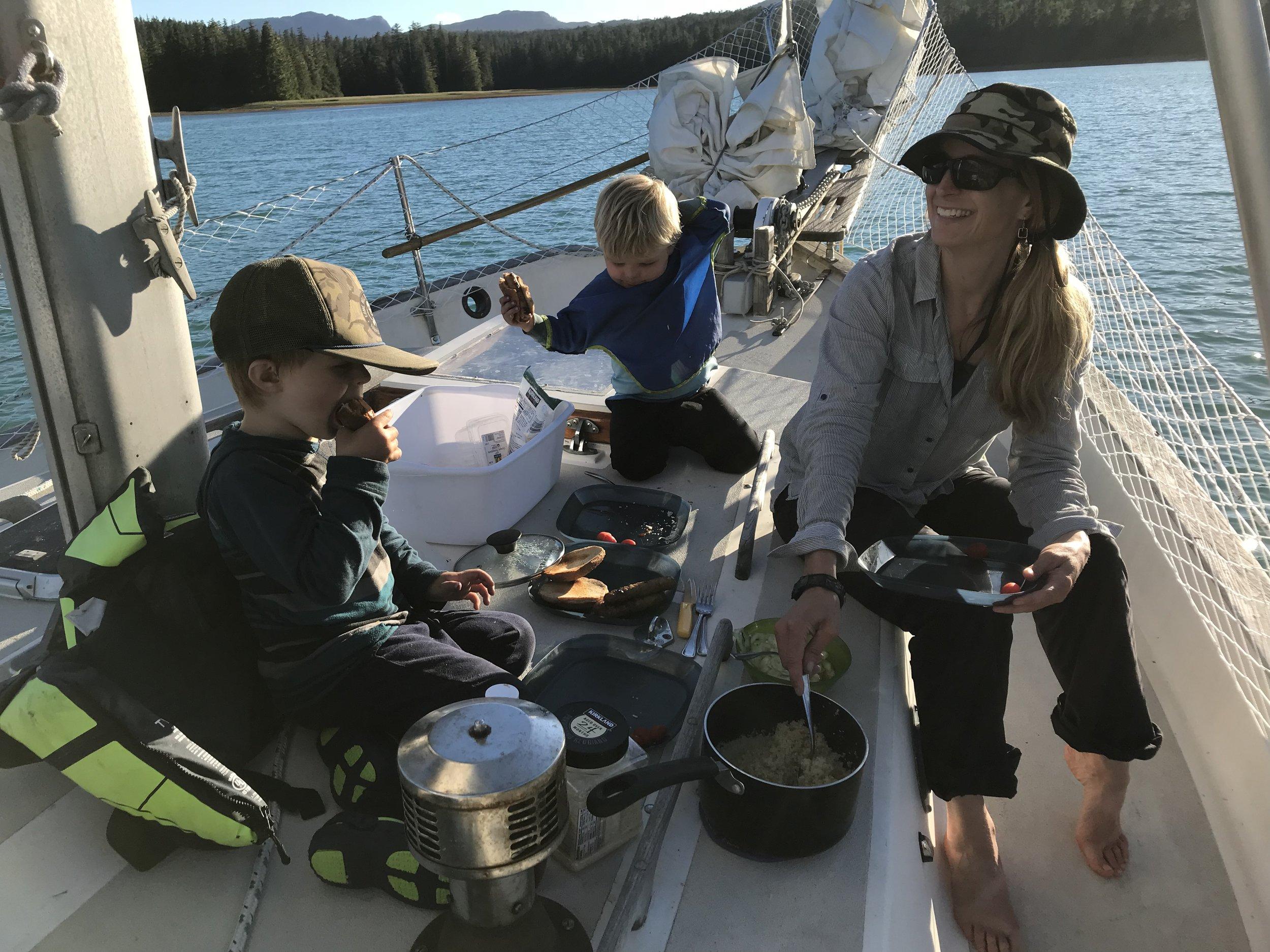 Dining on deck.
