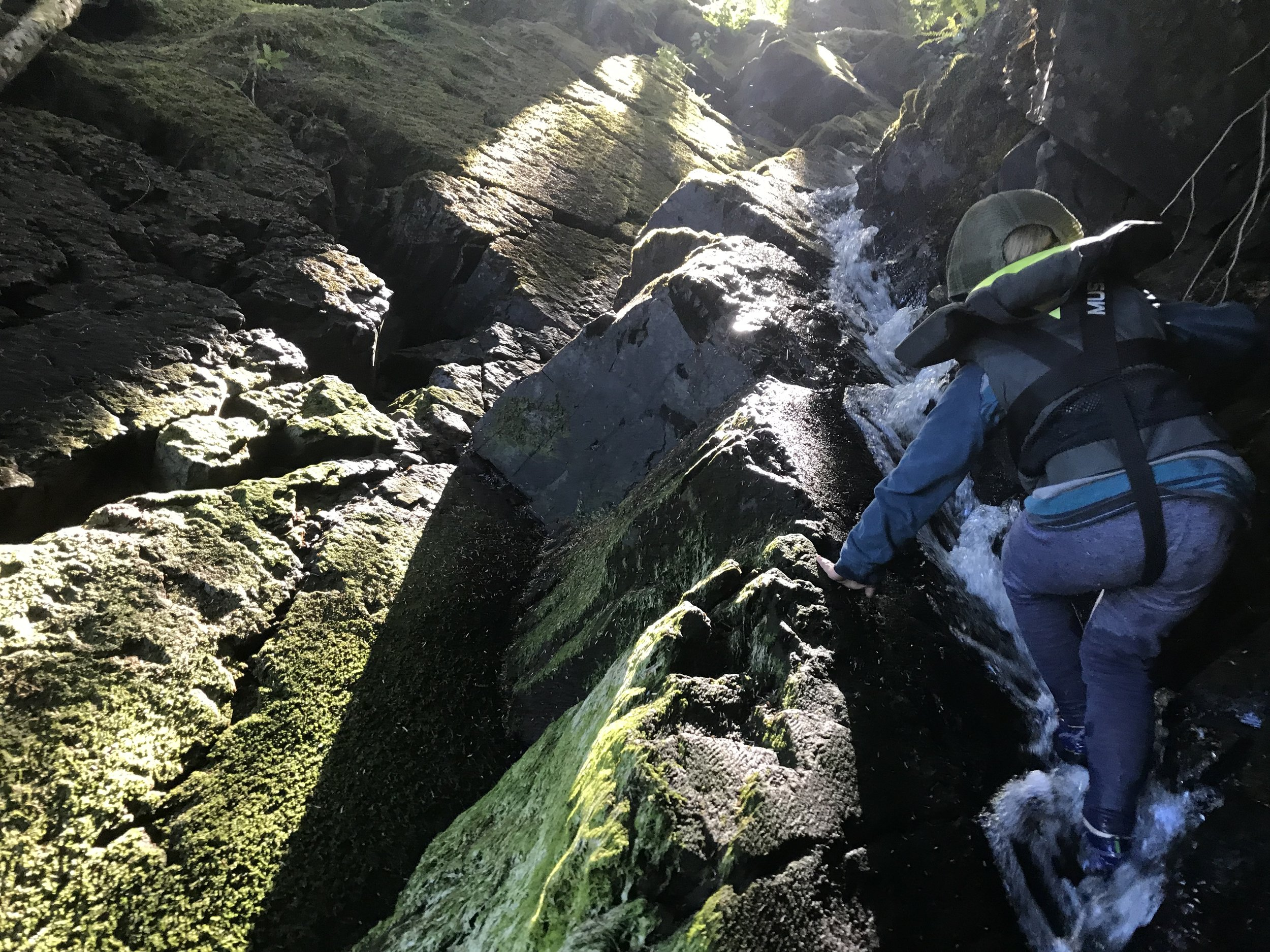 Waterfall ascent.