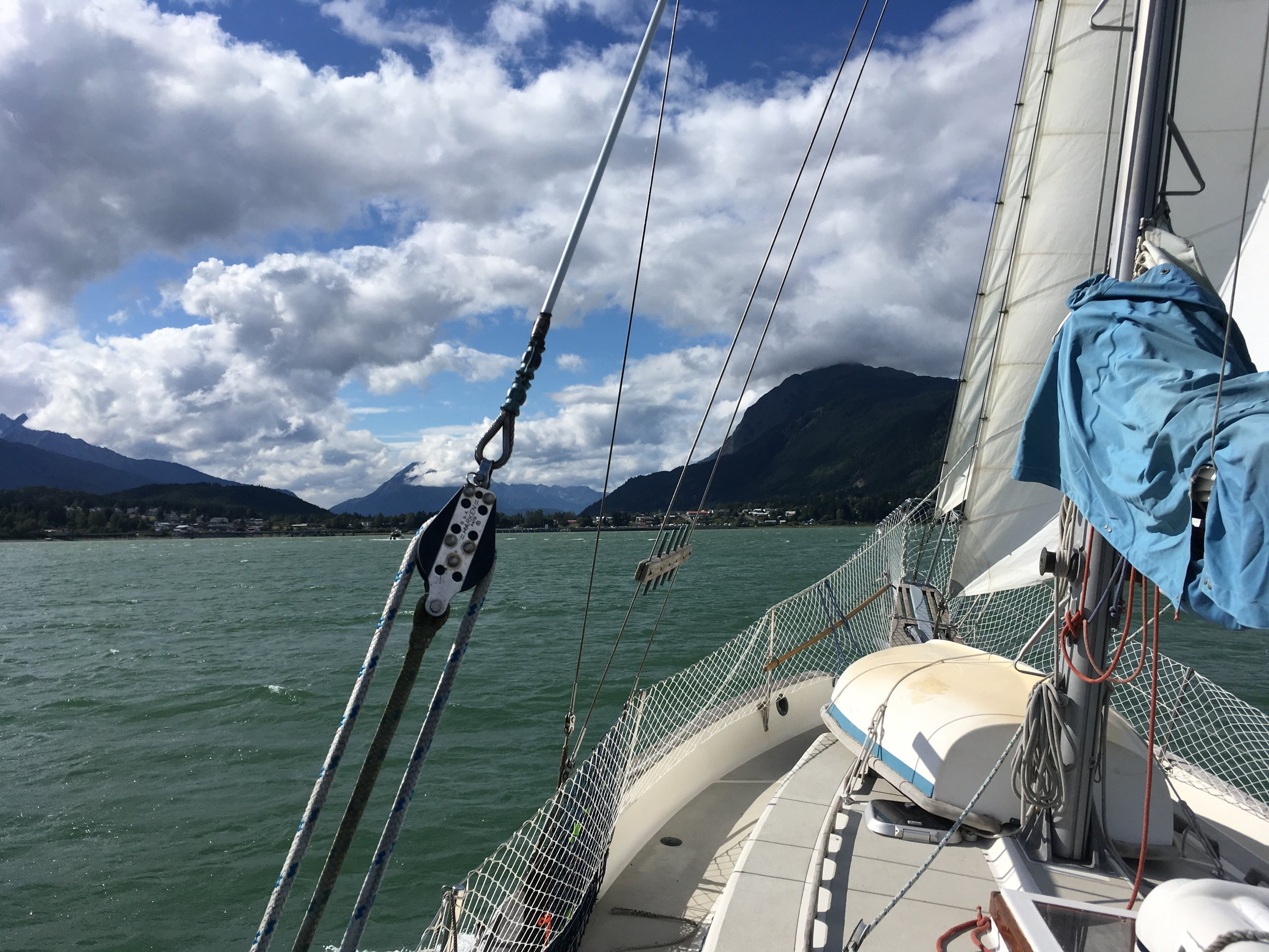 Sailing into Haines harbor.