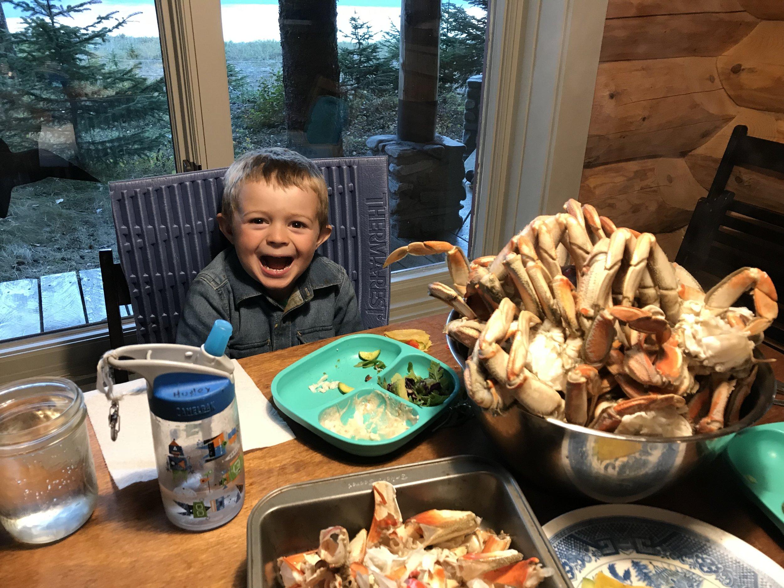 Somebody likes crab!