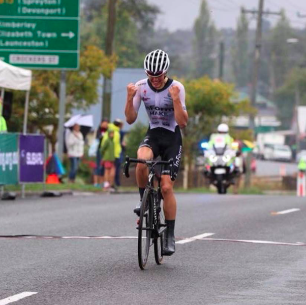Turnbull winning the Oceania Championship Road Race