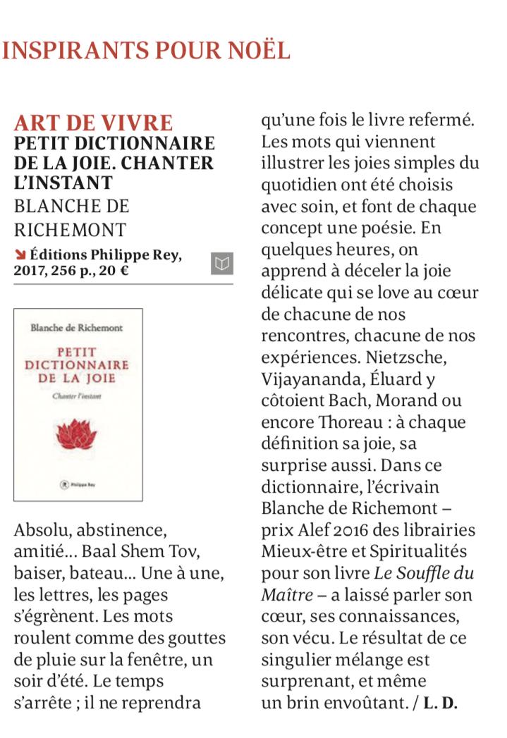 Petit dictionnaire de la joie. Monde des Religions. Oct 2017
