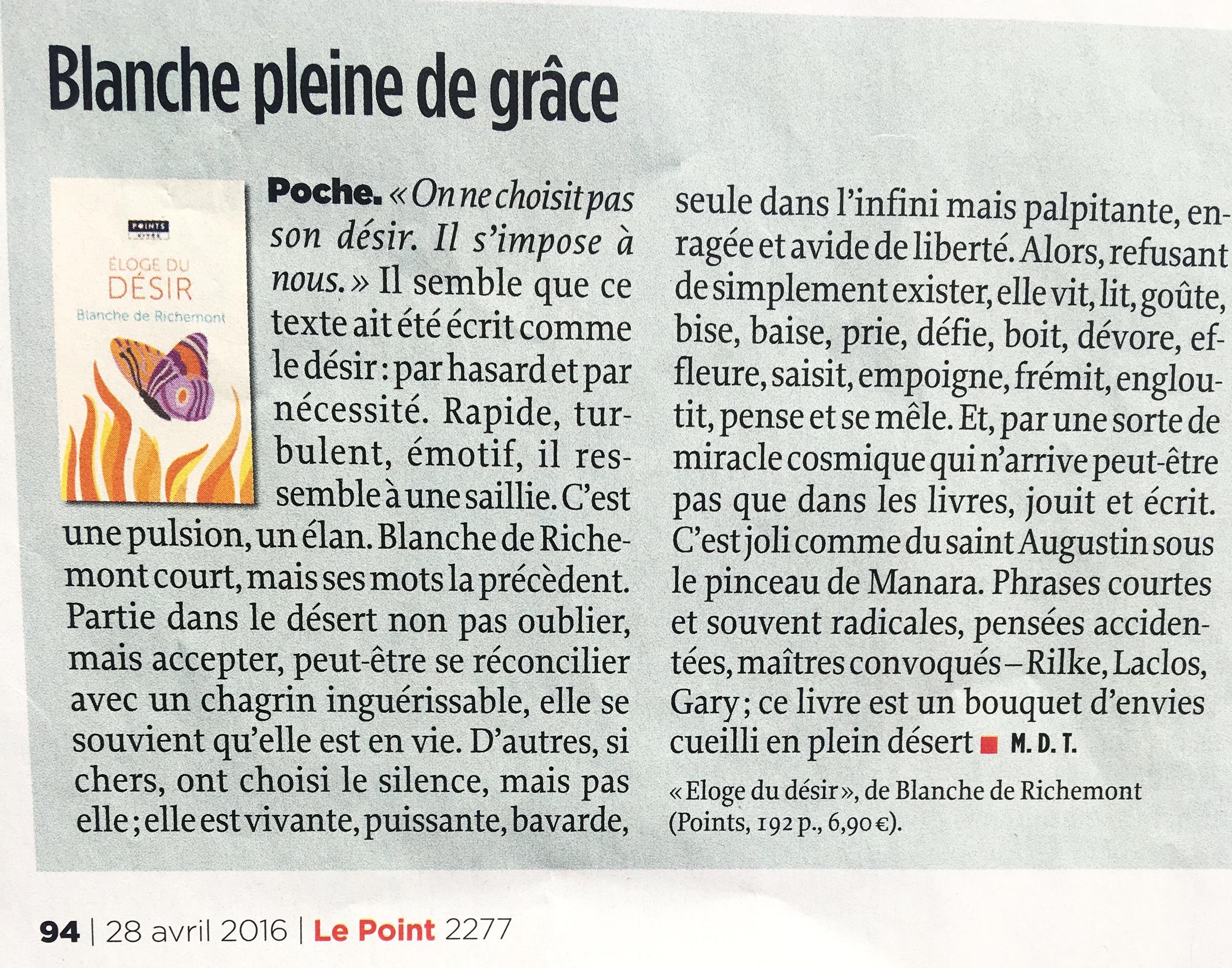 Éloge du désir. Magazine Le Point.Avril 2016
