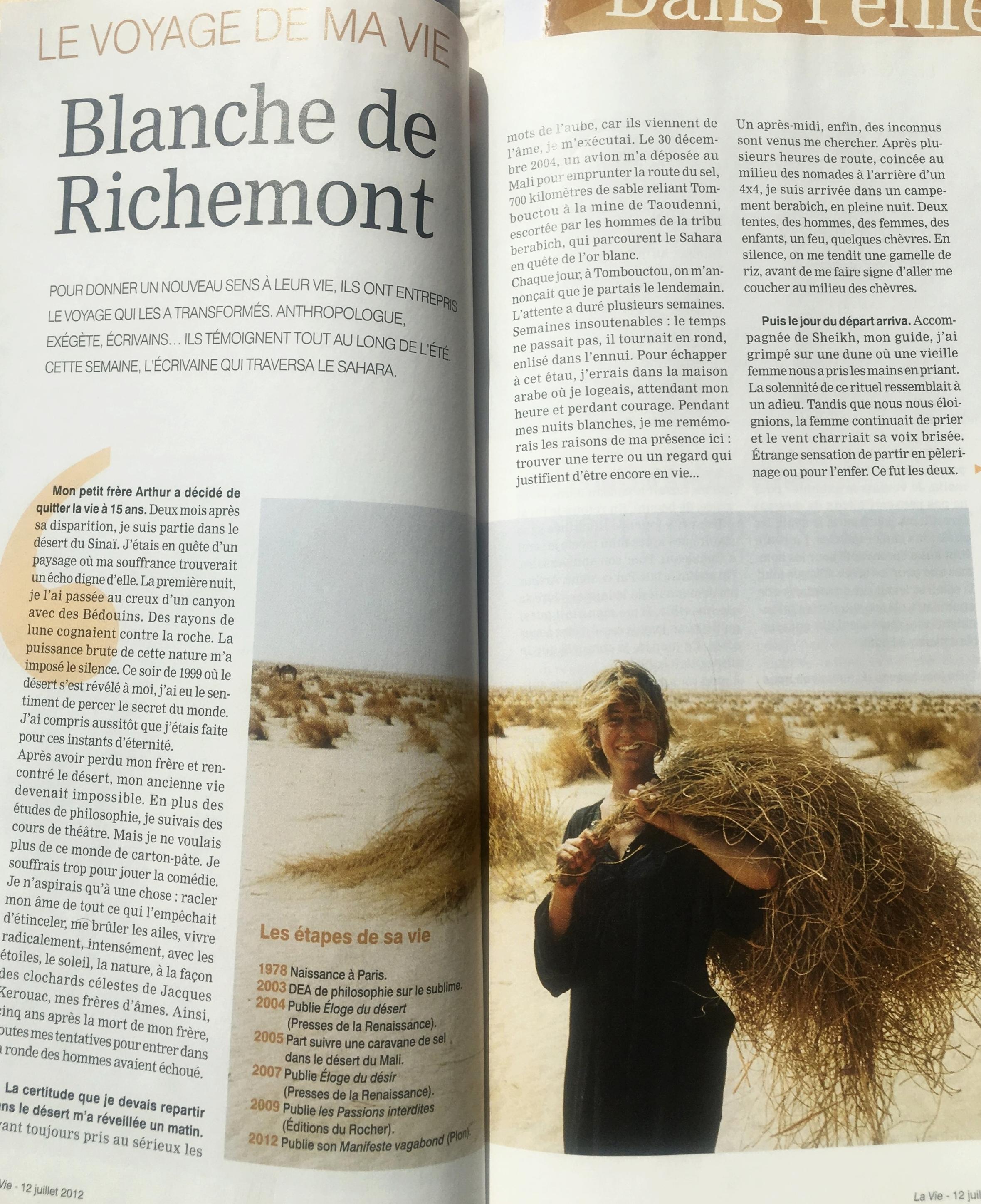 Portrait Magazine La Vie. Juillet 2012