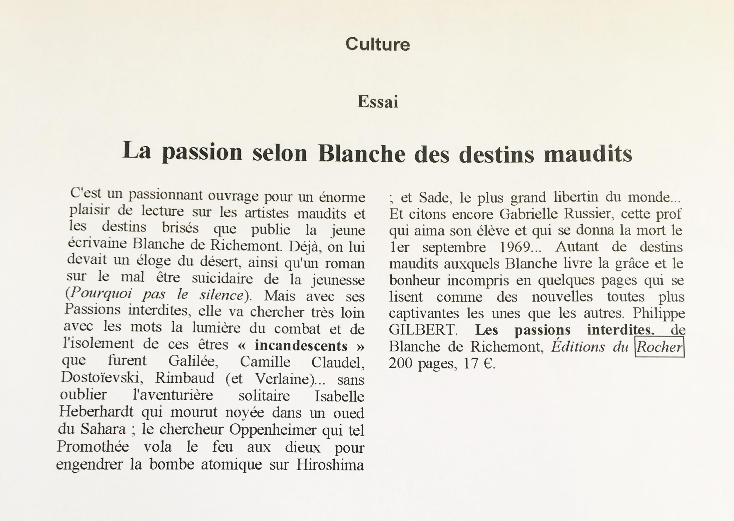 Passions interdites. Ouest France. Juin 2009