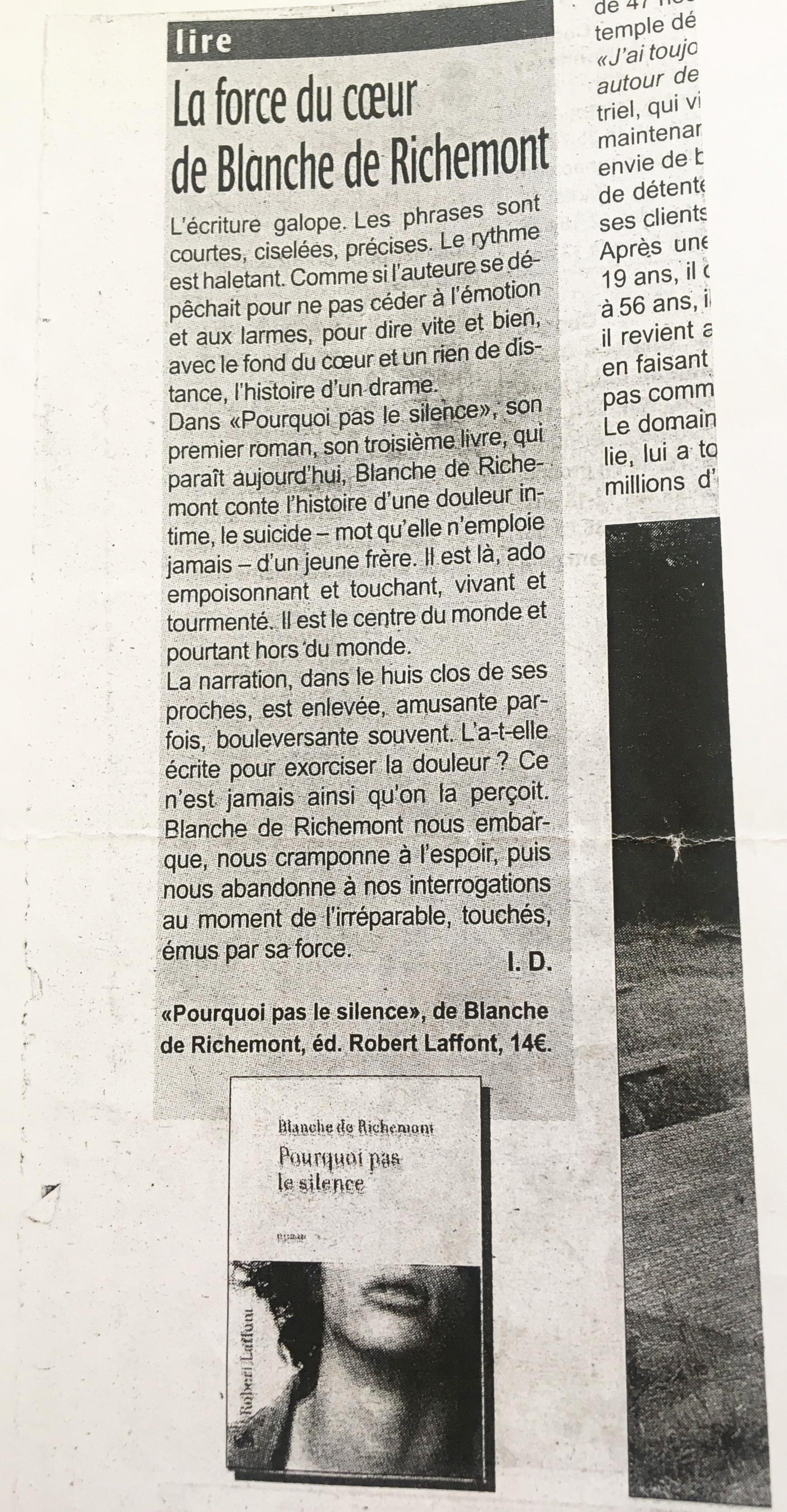 Pourquoi pas le silence.Charente libre. Aout 2008